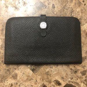 🌻Hermes Paris black leather Dogon Wallet